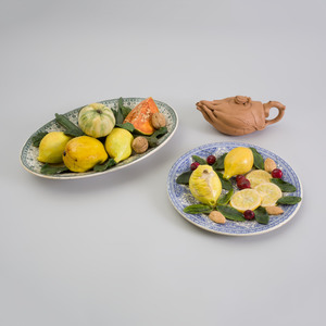 Two French Trompe L'oeil Pattern Plates with Vegetables, Christine Viennet