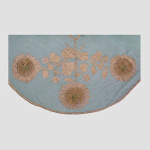 Italian Metallic Thread Embroidered Linen Sunflower Tablecloth and Twelve Matching Napkins