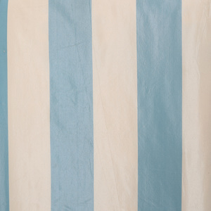 Group of Six French Blue and Cream Striped Silk Curtains