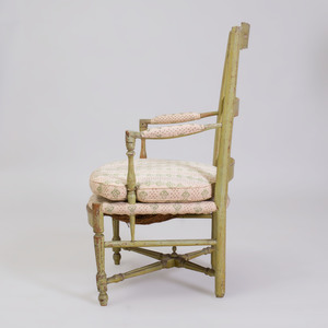 French Provincial Painted Ladderback Armchair