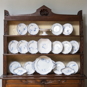 Large Sixty-Four Piece Gallé Blue and White Porcelain Dinner Service