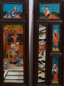 Chinese Carved Hardwood and Reverse Painted Glass Eight Panel Screen