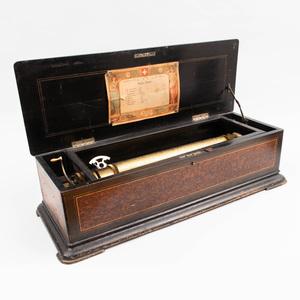 Swiss Paillard Vaucher Fils of St. Croix Burl and Ebonized Cylinder Music Box