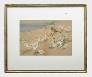 Fidelia Bridges (1834-1923): Bird on Beach with Flowers