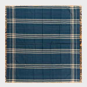 Turkish Blue and Cream Flatweave Wool Rug