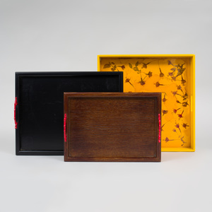 Two Faux Coral Mounted Wood Trays, Designed by Allegra Hicks