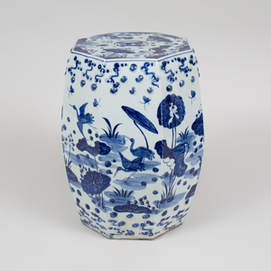 Chinese Blue and White Porcelain Octagonal Garden Seat