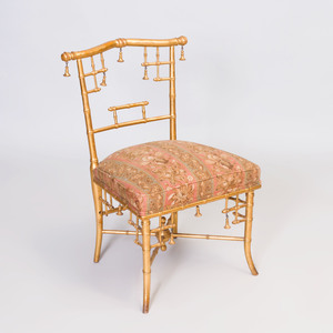 Fin-de-Siecle Faux Bamboo Style Giltwood Side Chair