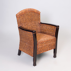 French Ebonized and Rattan Armchair