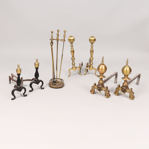 Three Pairs of Brass Andirons and a Set of Brass Fireplace Tools