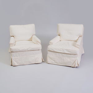 Pair of Cotton Slip Covered Club Chairs, Designed by Alexandra Stoddard