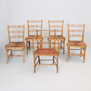 Four Regency Style Faux Bamboo Painted Chairs and a Regency faux Bamboo Armchair