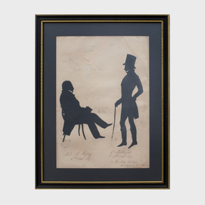 Two-Sided Album Sheet with Three Cut-Out Silhouettes of Gentlemen, in the Manner of Edouart