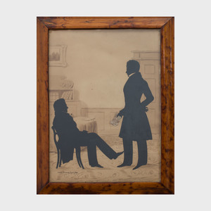 Auguste Edouart (1789- 1861): Cut-Out Silhouette Group of Two Gentlemen in Parlor and a Single of a Young Man Holding Top Hat