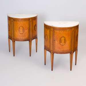 Pair of Italian Neoclassical Fruitwood Parquetry Bedside Cabinets
