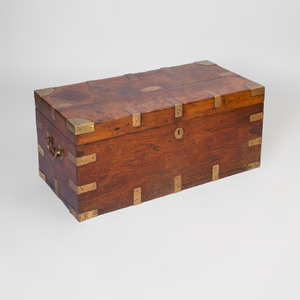 Chinese Export Brass-Mounted Teak Trunk