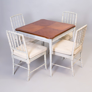 White Painted Faux Bamboo Table and Four Side Chairs en Suite, Kindel, Grand Rapids