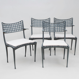 Set of Four Dan Johnson Coated Metal 'Gazelle' Chairs