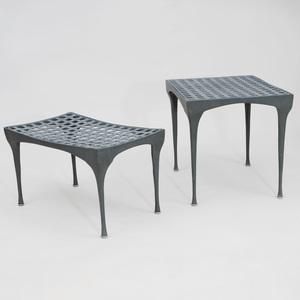 Two Dan Johnson Coated Metal 'Gazelle' Side Tables