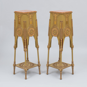 Pair of Painted and Parcel-Gilt Plant Stands, After Bugatti