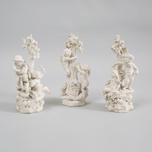 Three Derby Biscuit Porcelain Tree Groups