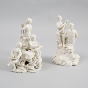 Two French Porcelain White Glazed Musical Figure Groups