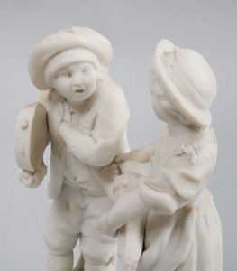 French Biscuit Porcelain Figure Group of Youth with Tambourine and Girl with Hurdy Gurdy
