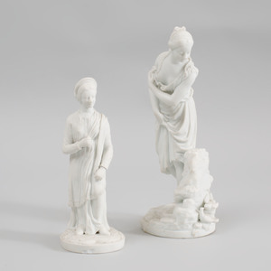 Niderviller Biscuit Porcelain of a Bather and Another of a Roman Matron