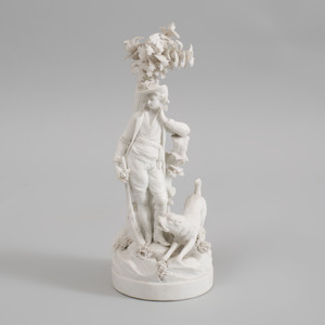 Locret Biscuit Porcelain Figure of a Hunter with Hound