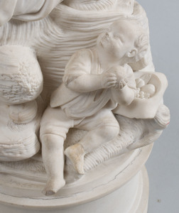 French Biscuit Porcelain Figure Group of Sleeping Maiden and Boy Sipping from Bottle