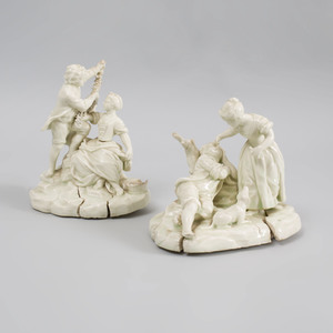 Two Continental Porcelain White Glazed Figure Groups of Lovers