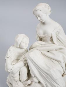 French Biscuit Porcelain Figure Group, Le Sabot Cassé
