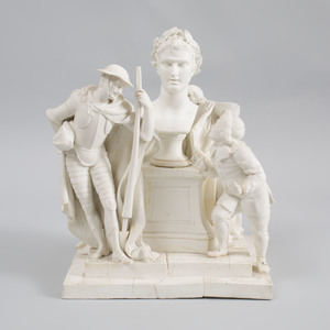 Sevres Biscuit Porcelain Figure Group 'Don Quichotte et la Tête Enchantée'