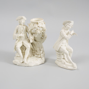 Two French White Glazed Porcelain Figures