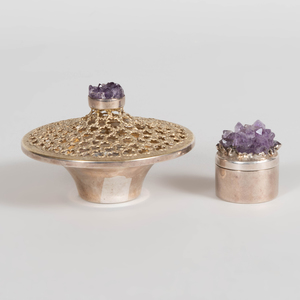 English Parcel-Gilt Quartz-Mounted Silver Posy Bowl and an English Quartz-Mounted Silver Box