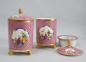 Pair of English Porcelain Puce Scale Ground Ice Pails, Liners and Covers, Mounted as Lamps