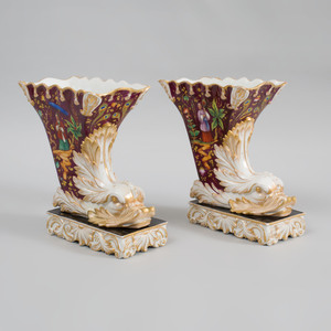 Pair of Paris Porcelain Chinoiserie Decorated Cornucopia Form Vases, in the Style of Jacob Petit