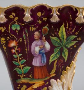 Pair of Paris Porcelain Chinoiserie Decorated Cornucopia Form Vases, in the Style of Jacob Petit