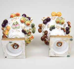 Pair of Continental Porcelain Fruit and Flower Encrusted Vases