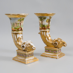 Pair of Paris Porcelain Cornucopia Vases