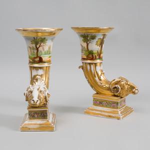 Pair of Paris Porcelain Cornucopia Vases