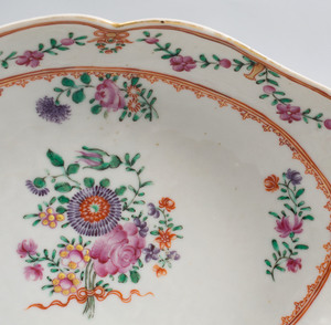 Pair of Chinese Export Porcelain Famille Rose Oval Dishes