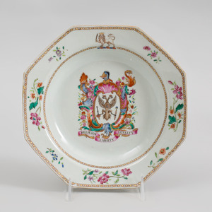 Chinese Export Porcelain Armorial Octagonal Soup Plate