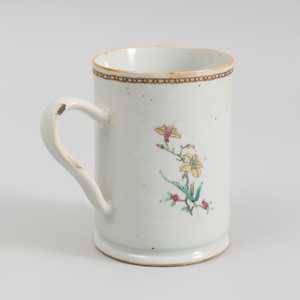 Chinese Export Porcelain Famille Rose Double Armorial Mug