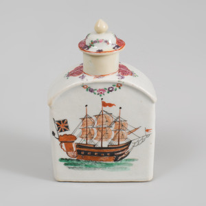 Chinese Export Porcelain Famille Rose Tea Caddy and Cover