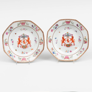 Pair of Chinese Export Porcelain Armorial Octagonal Soup Plates