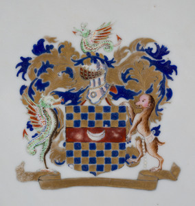 Chinese Export Porcelain Underglaze Blue and Famille Rose Armorial Plate with 'Arms of Clifford'