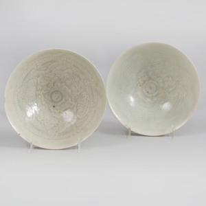 Two Chinese Qingbai Glazed Porcelain Bowls