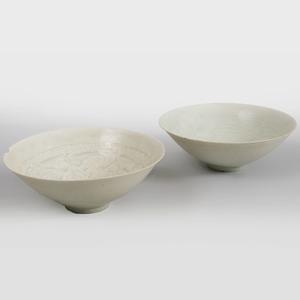 Two Chinese Qingbai Glazed Porcelain Bowls