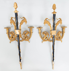 Pair of Louis XVI Style Gilt-and-Patinated Bronze Two-Light Wall Sconces, After a Model by Pierre Gouthière